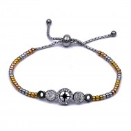 Stainless Steel With Rose 3-Tone Plated Northern Star Lariat Bracelets