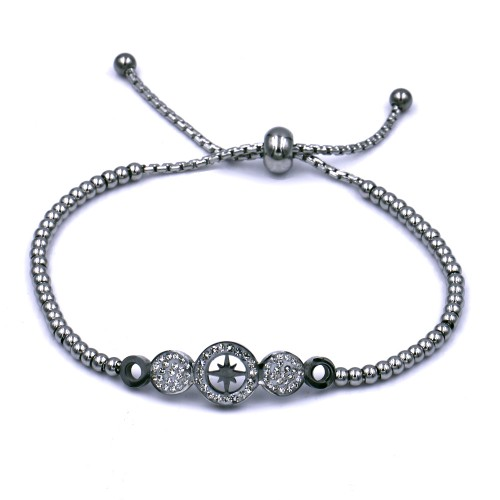 Stainless Steel With Rhodium Plated Northern Star Lariat Bracelets