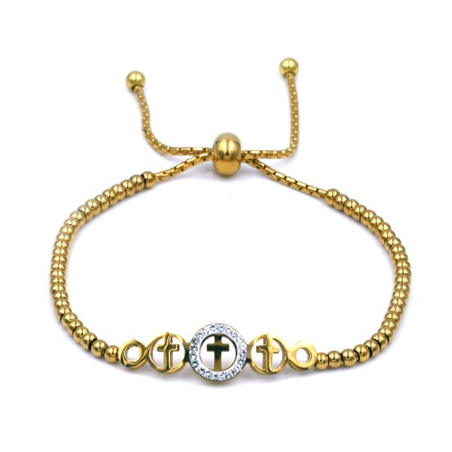 Stainless Steel With Gold Plated Cross Lariat Bracelets