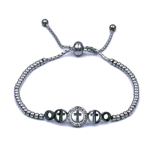Stainless Steel With Rhodium Plated Cross Lariat Bracelets