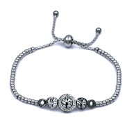 Stainless Steel With Rhodium Plated Life Tree Lariat Bracelets