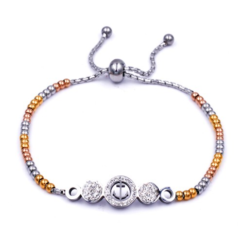 Stainless Steel With 3-Tone Plated Anchor Lariat Bracelets