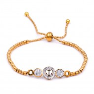 Stainless Steel With Gold Plated Anchor Lariat Bracelets
