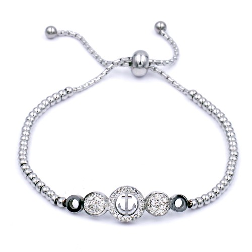 Stainless Steel With Rhodium Anchor Lariat Bracelets