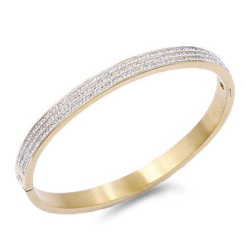 Gold Plated with Crystal Stainless Steel Hinged Bangle