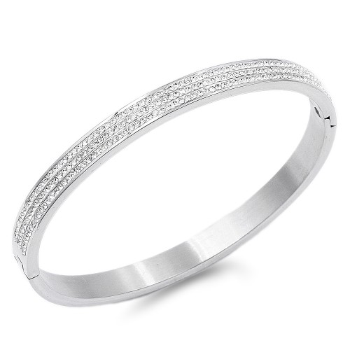 Silver Plated with Crystal Stainless Steel Hinged Bangle