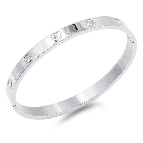 Silver Crystal with Heart pattern Stainless Steel Bangle