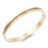 Gold Plated Bike Chain pattern Stainless Steel Hinged Bangle