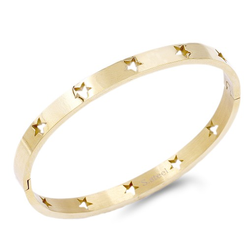 Gold Plated Stainless Steel With Star Pattern Hinged Bangle