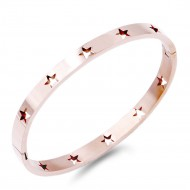 Rose Gold Stainless Steel With Star Pattern Hinged Bangle