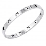 Rhodium Plated Stainless Steel w.Star Pattern Hinged Bangle
