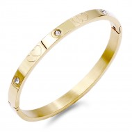 Gold Plated Stainless Steel Crystal Double Hearts Bangle
