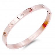 Rose Gold Stainless Steel Crystal Double Hearts Bangle