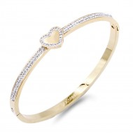 Gold plated Heart with Crystal Stainless Steel Bangle