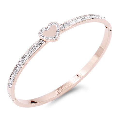 Rose Gold plated Heart with Crystal Stainless Steel Bangle