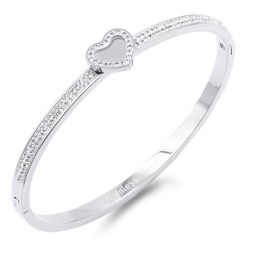 Silver Heart with Crystal Stainless Steel Bangle
