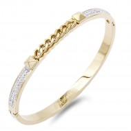 Gold Plated Stainless Steel Crystal With Chain Bracelet