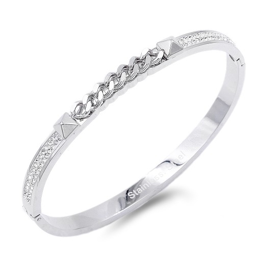 Silver Stainless Steel Crystal With Chain Bracelet