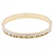 Gold Stainless Steel Crystal & Roman Numerals Bracelet