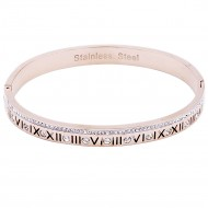 Rose Gold Stainless Steel Crystal & Roman Numerals Bracelet