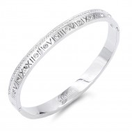 Silver Stainless Steel Crystal & Roman Numerals Bracelet