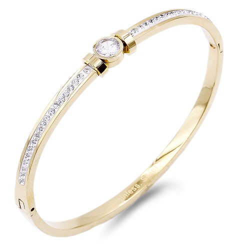 Gold Plated Stainless Steel With CZ Stone Bracelet