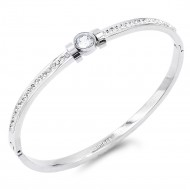Silver Plated Stainless Steel With CZ Stone Bracelet