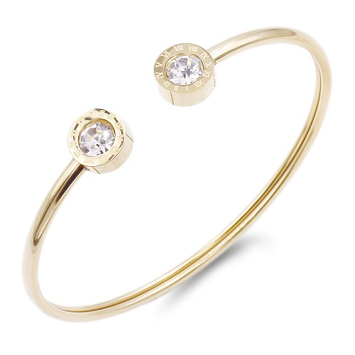 Gold Plated Stainless Steel CZ w.Roman Numerals open Bangle