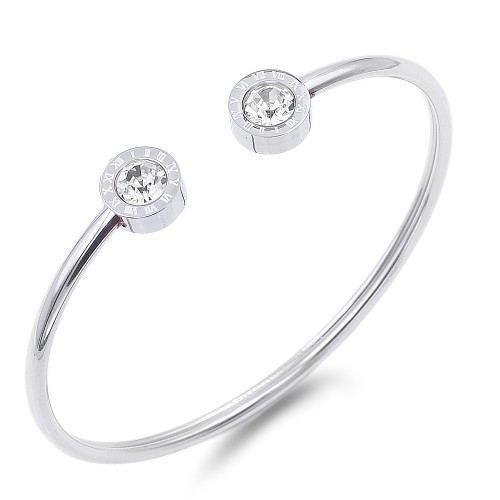 Silver Stainless Steel CZ w.Roman Numerals open Bangle