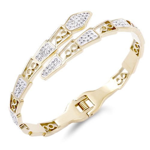 Gold Plated Stainless Steel Crystal Snake Bangle
