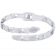 Silver Plated Stainless Steel Crystal Snake Bangle