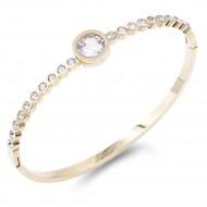 Gold Plated Stainless Steel with CZ Stone Bangle