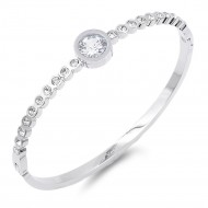 Silver Plated Stainless Steel with CZ Stone Bangle