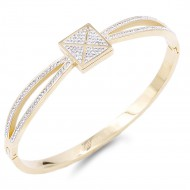 Gold Plated Stainless Steel with square X Crystal Bangle