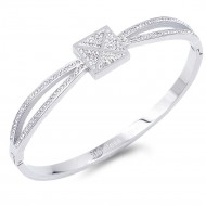 Silver Plated Stainless Steel with square X Crystal Bangle