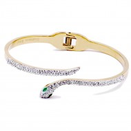 Gold Plated Stainless Steel with Snake Crystal Bangle
