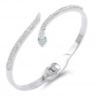 Silver Plated Stainless Steel with Snake Crystal Bangle