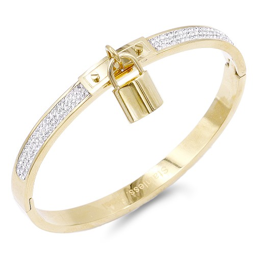 Gold Plated Stainless Steel with Lock Crystal Bangle