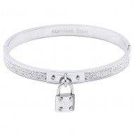 Silver Plated Stainless Steel with Lock Crystal Bangle