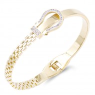 Gold Plated Stainless Steel with Belt lock Crystal Bangle