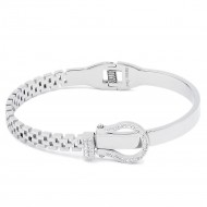 Silver Plated Stainless Steel with Belt lock Crystal Bangle