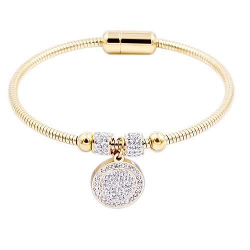Gold Plated Stainless Steel W.Circle Crystal Charm Bracelet