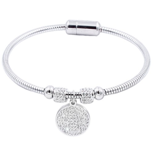 Silver Plated Stainless Steel Circle Crystal Charm Bracelet