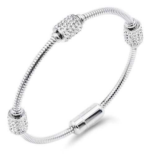 Silver Plated Stainless Steel Crystal Bracelet