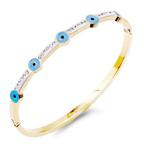 Gold Plated Stainless Steel Evil Eye Crystal Bracelet
