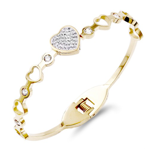 Gold Plated Stainless Steel Heart Crystal Bracelet