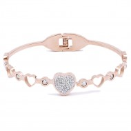 Rose Gold Plated Stainless Steel Heart Crystal Bracelet