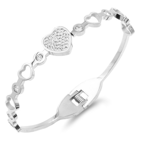Silver Plated Stainless Steel Heart Crystal Bracelet