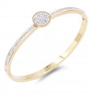 Gold Plated Stainless Steel Circle Crystal Bracelet