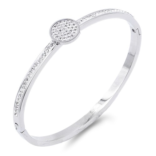 Silver Plated Stainless Steel Circle Crystal Bracelet